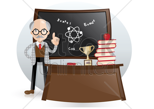 science teacher in class vector graphic