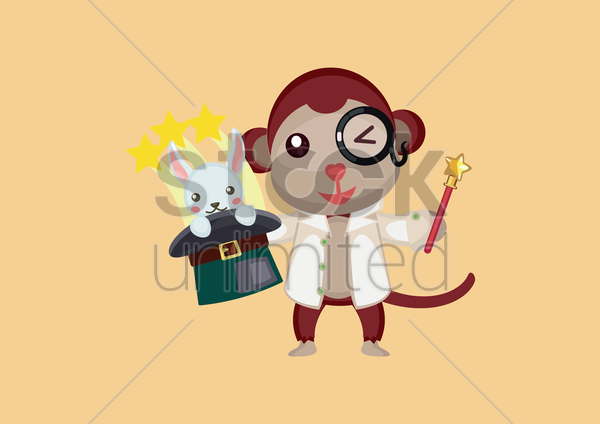 scientist monkey showing magic tricks vector graphic