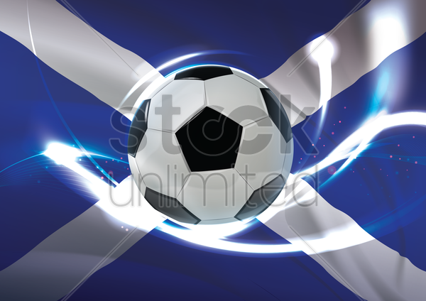 scotland flag with soccer ball vector graphic