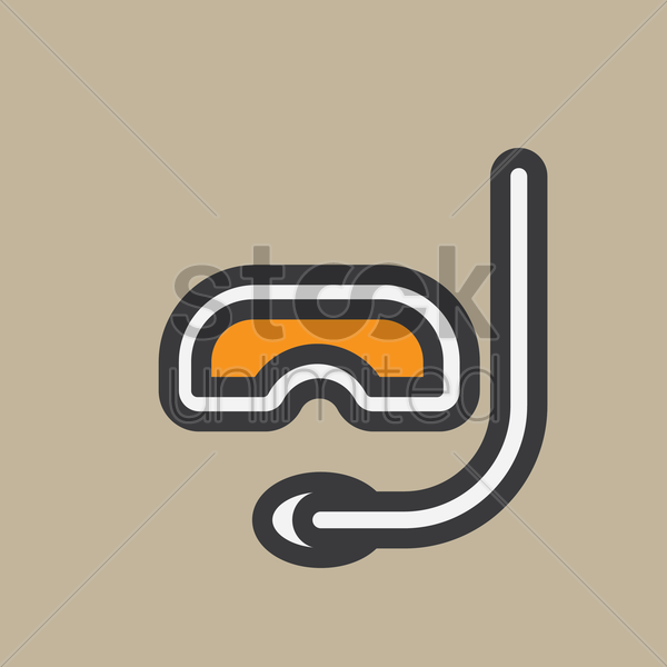 scuba mask and snorkel vector graphic