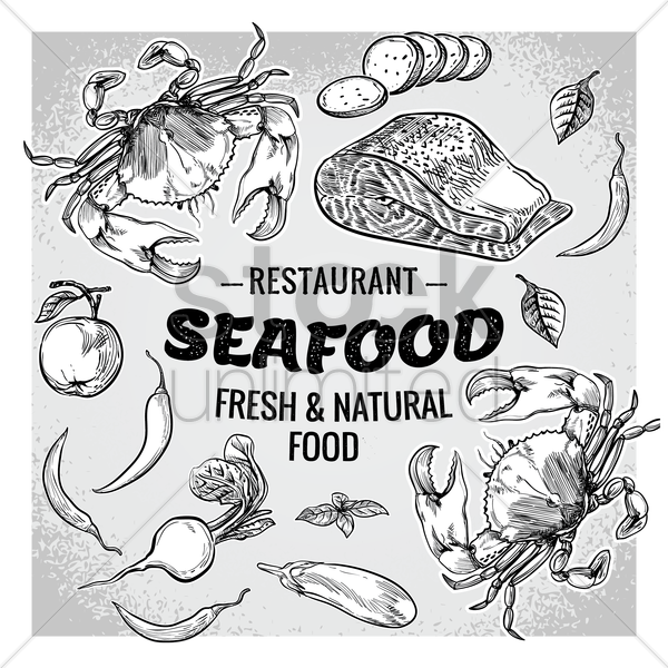 seafood restaurant with fresh and natural food vector graphic