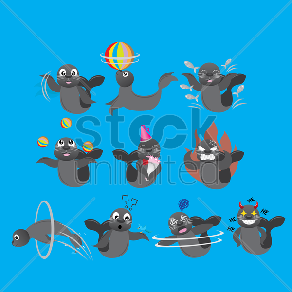 seal animal doing different actions vector graphic
