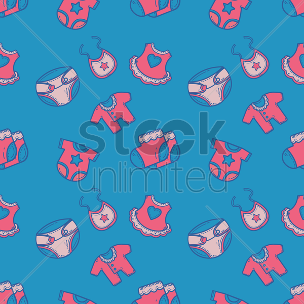 seamless baby items design vector graphic
