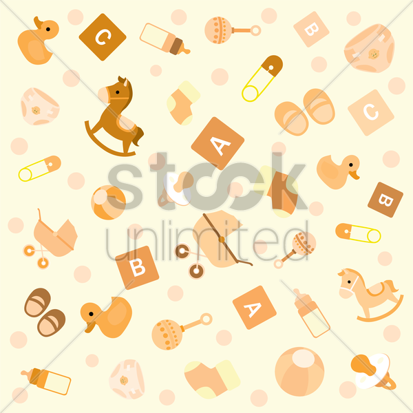 Free seamless pattern of baby vector graphic