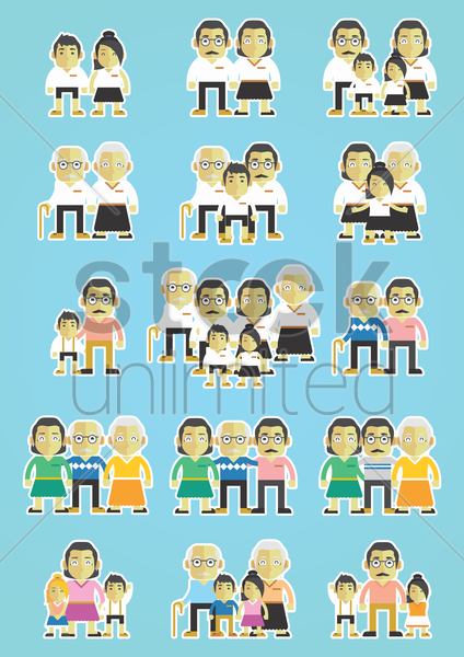 seamless pattern of happy family vector graphic