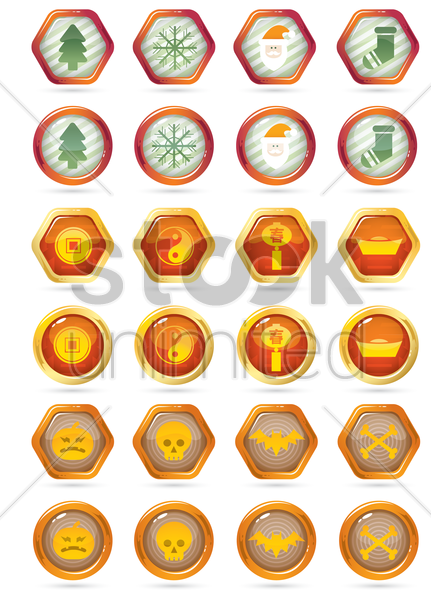 seasonal themed icons vector graphic
