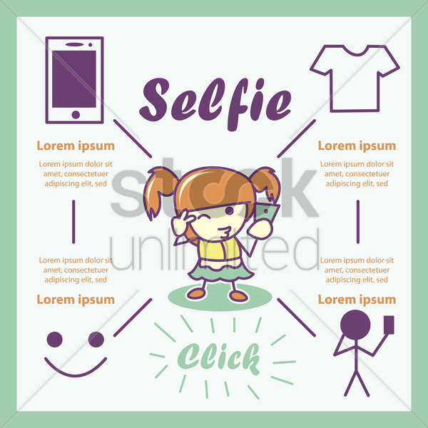 selfie infographic vector graphic