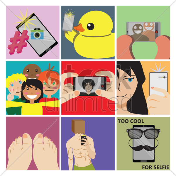 selfie pictures and concept vector graphic