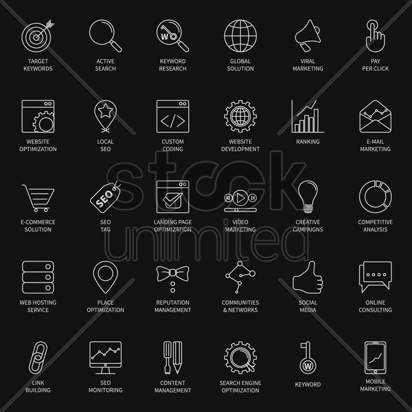 seo and development icon set vector graphic