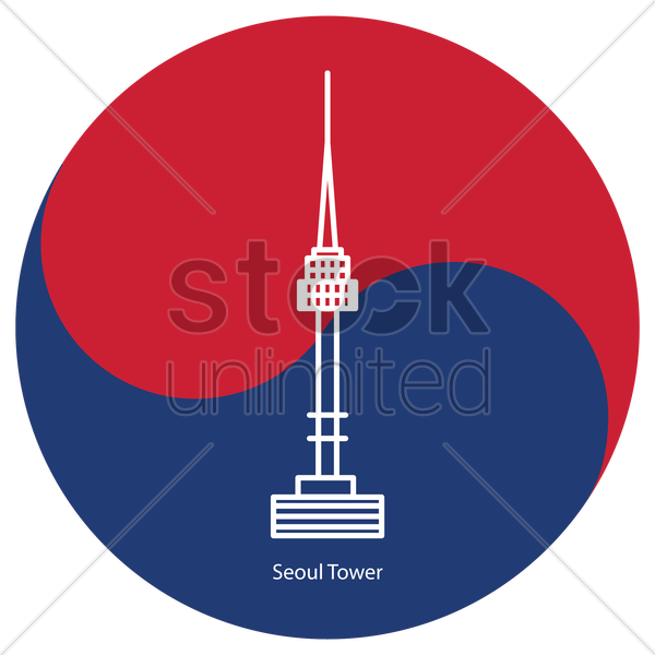 seoul tower vector graphic
