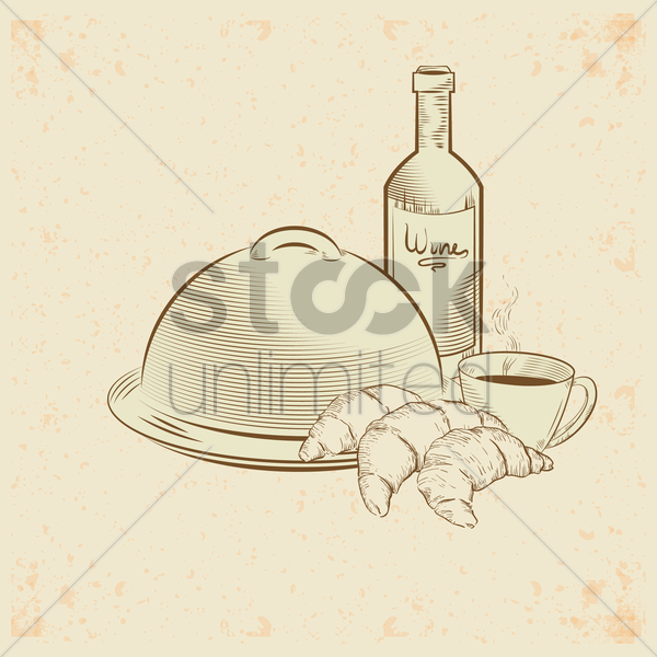 serving tray and food vector graphic