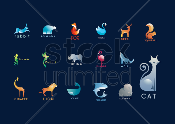 set of abstract animals logo elements vector graphic