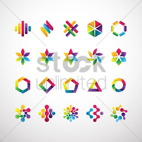 set of abstract logo elements vector graphic
