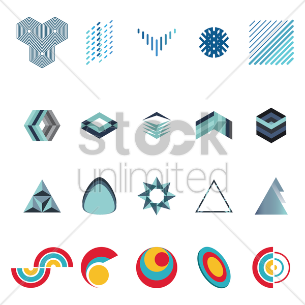 set of abstract logos elements vector graphic