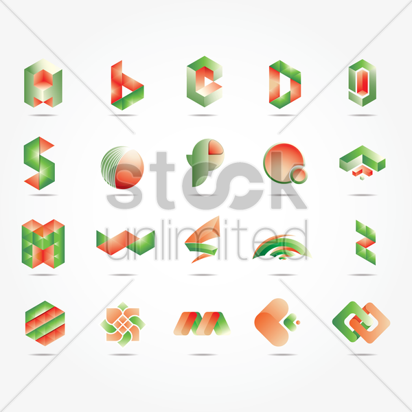 Free set of abstract logos vector graphic