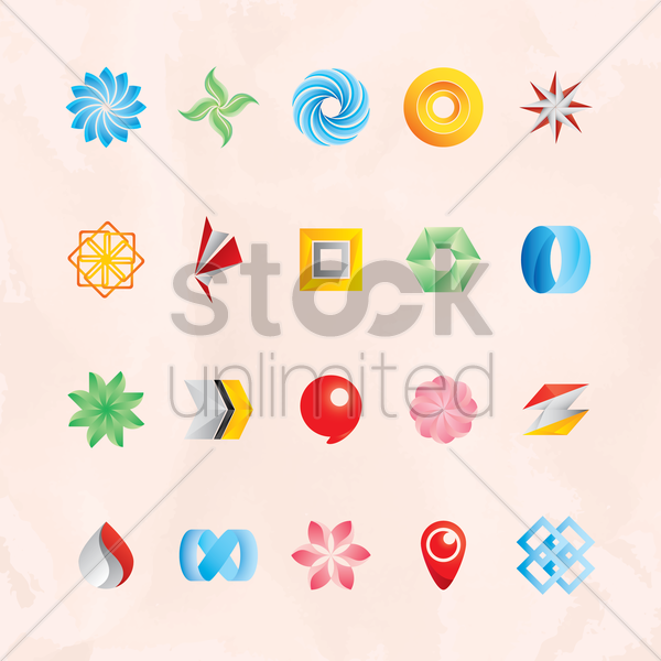 set of abstract logos vector graphic