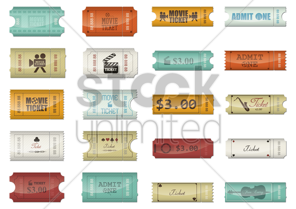 set of admittance tickets vector graphic