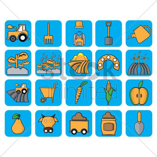 set of agriculture icons vector graphic