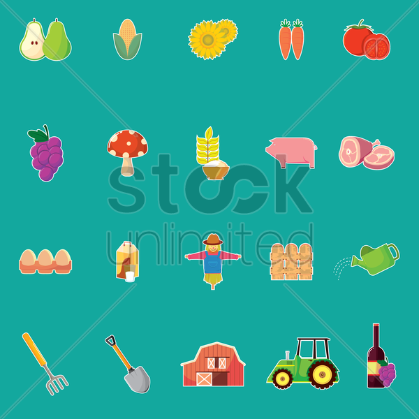 set of agriculture vector graphic