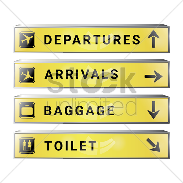 set of airport signboards vector graphic