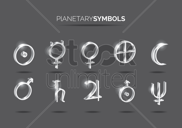 set of alchemy planetary symbols vector graphic