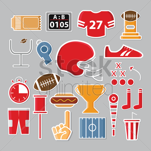Free set of american football icons vector graphic