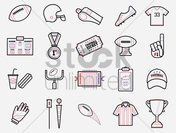 set of american football icons vector graphic