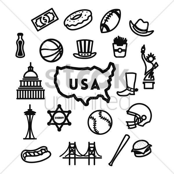 set of american icons vector graphic