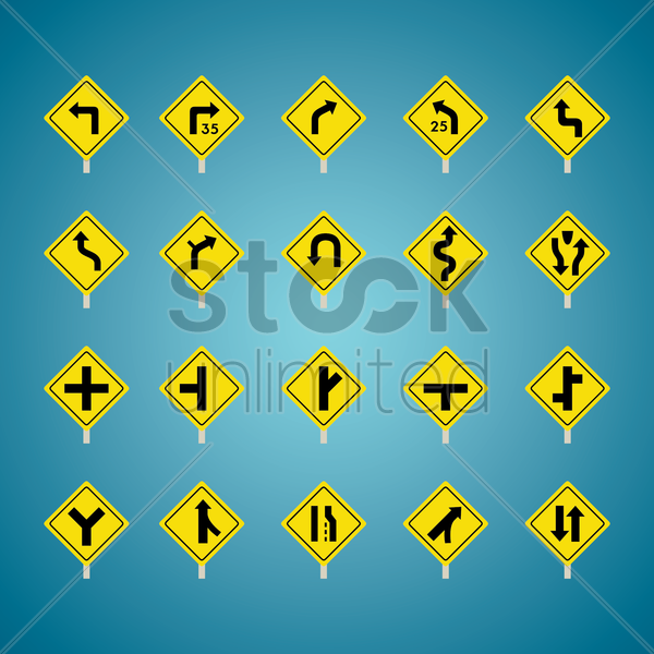 set of american road sign icons vector graphic