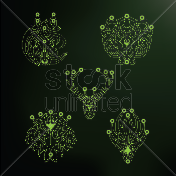 set of animal heads shaped circuits vector graphic
