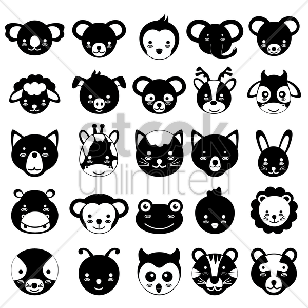 set of animal heads vector graphic