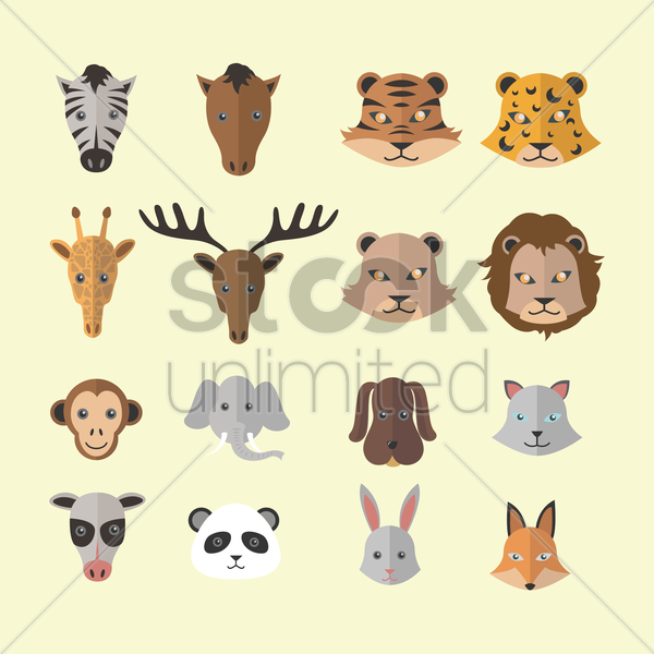 set of animal icons vector graphic