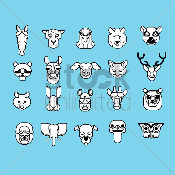 Free set of animal mounted heads vector graphic