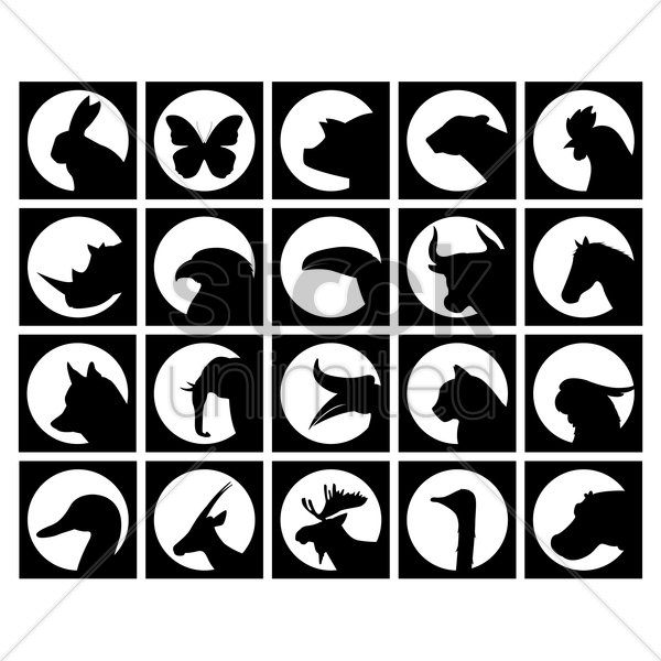 set of animal silhouettes vector graphic