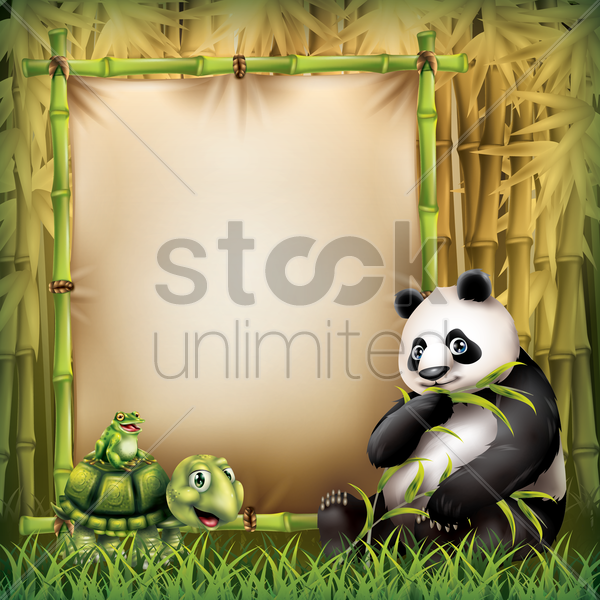 set of animals with a banner vector graphic