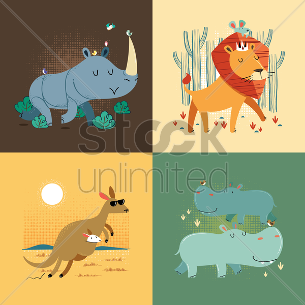 set of animals vector graphic