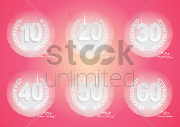 set of anniversary icons vector graphic