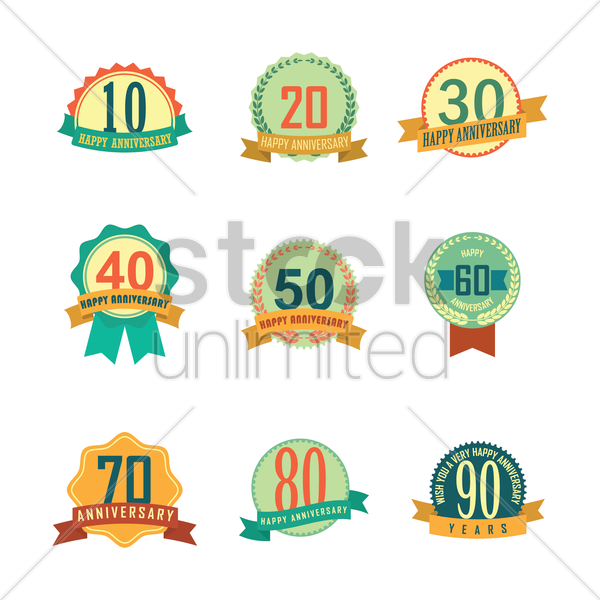 set of anniversary label vector graphic