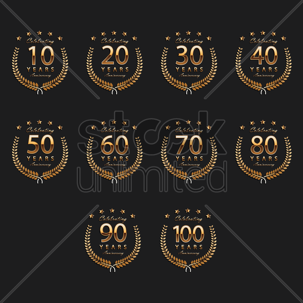 set of anniversary labels vector graphic