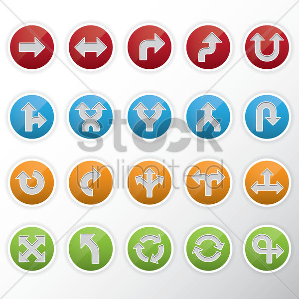 set of arrow icons vector graphic