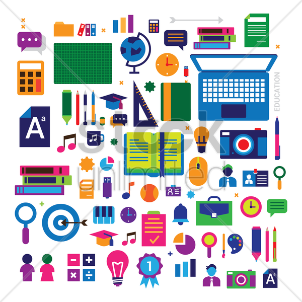 set of assorted icon vector graphic