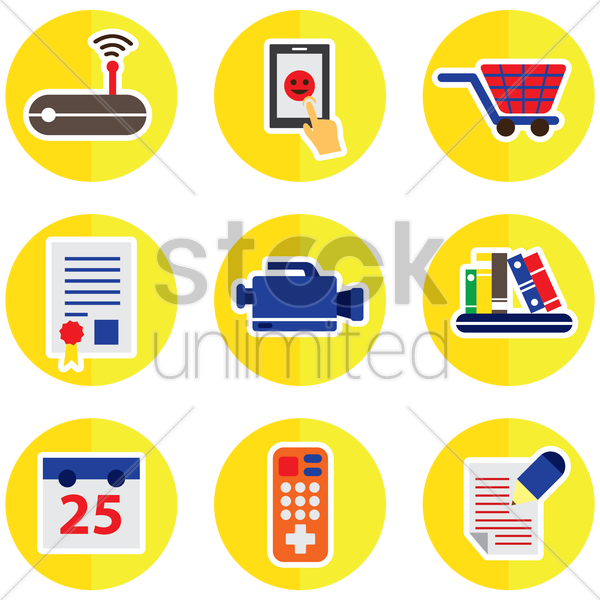 set of assorted icons vector graphic