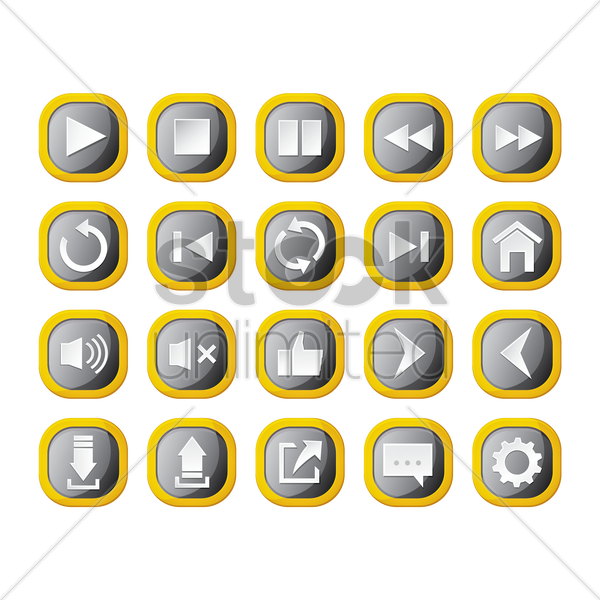 set of audio buttons vector graphic