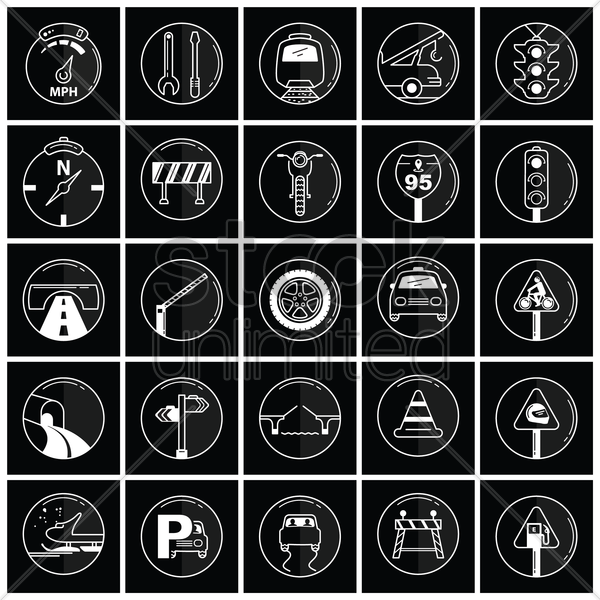 set of automobile icons vector graphic