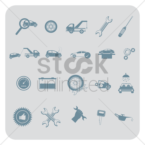 set of automobile items vector graphic