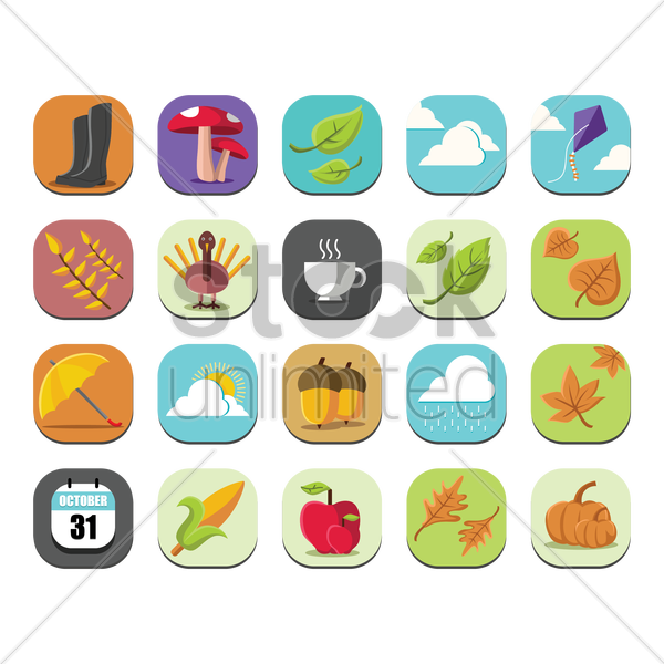 set of autumn icons vector graphic