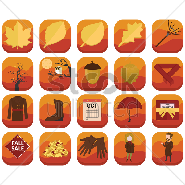 set of autumn related icons vector graphic