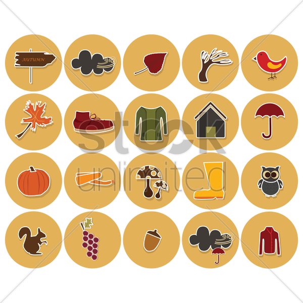 set of autumn related items vector graphic