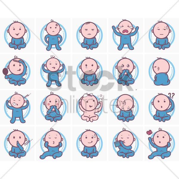 Free set of baby facial expressions vector graphic