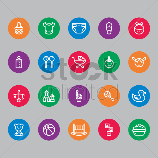 set of baby icons vector graphic